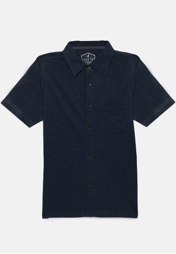 ZALZA navy Mike 100% Organic Cotton Boys Full Open Short Sleeve Tee - Shadow Blue 7A8B9KA2A3A442GS_1