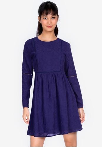 ZALORA BASICS navy Long Sleeve Embroidered Dress 794DEAA3DB0DAEGS_1