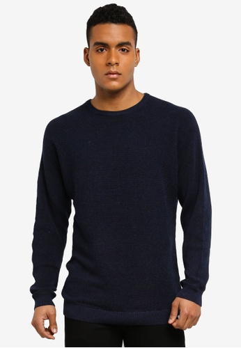 Only & Sons 藍色 長袖針織毛衣 11C48AA1F393F1GS_1