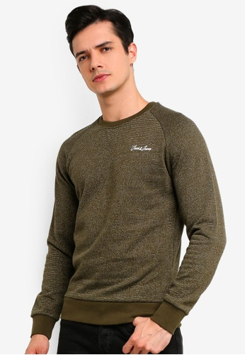 1adc65879c74bc Jack   Jones green Hide Crew Neck Sweater 4A4E4AA6CFFD82GS 1. CLICK TO ZOOM