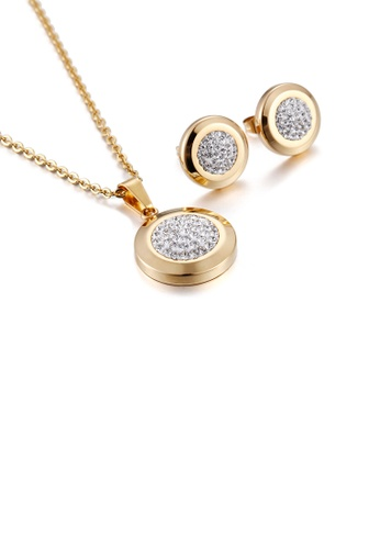 Glamorousky white Simple and Bright Plated Gold Geometric Round Cubic Zirconia 316L Stainless Steel Necklace and Stud Earrings Set 74BEDAC0E80D2DGS_1