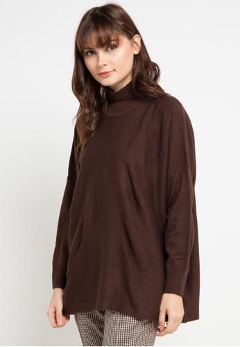 Noir Sur Blanc brown Ladies Poncho Turtleneck Long Sleeve E3414AAA23E130GS_1
