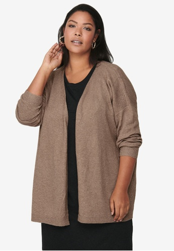 Only CARMAKOMA brown Plus Size Primeus Long Sleeve Cardigan F395BAA675F60FGS_1