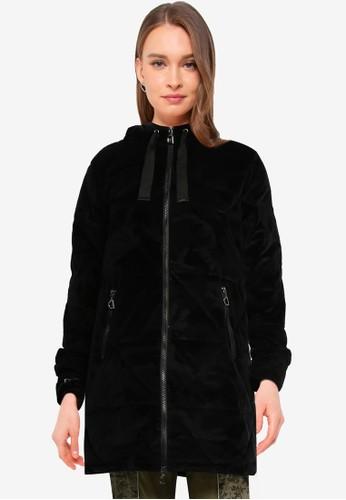 Desigual black Velvet Padded Jacket 5AD2CAAD4ED6DDGS_1