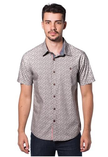 Bum Equipment grey B.U.M Equipment Men Full Art S/S Woven Shirt  (LT. GREY) BU054AA0RHE1MY_1