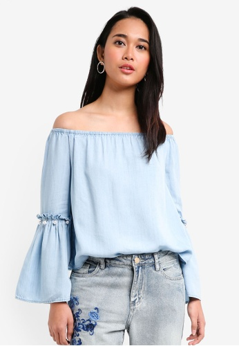 ONLY blue Vilde Long Sleeve Off Shoulder Denim Blouse A1623AACAB7F55GS_1