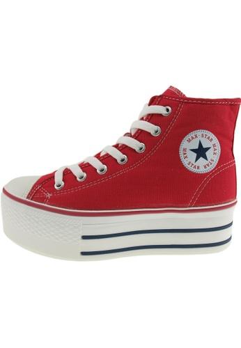 Maxstar 紅色 新款韩国鞋C50-7H時尚帆布布混合女紅色 US Women Size MA345SH31GVWTW_1
