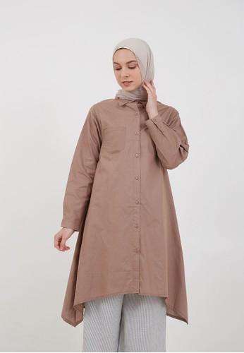 Hijabenka brown Sephia Fera Long Shirt Brown 59C93AA3C4DB7BGS_1