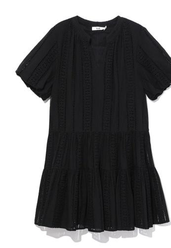 b+ab black Perforated tiered dress 7B7FBAAB03ED54GS_1