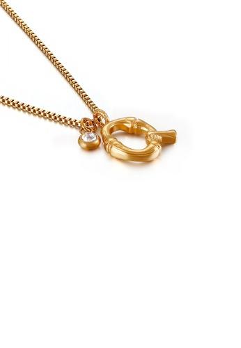 Glamorousky 白色 時尚簡約鍍金色英文字母Q 316L鋼吊墜配鋯石及項鏈 52379AC4141773GS_1