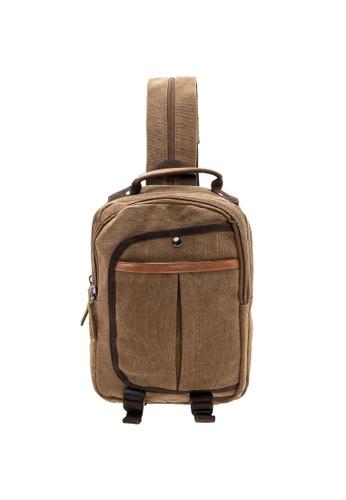 Jack Studio brown Jack Studio Canvas Cross Body Messenger Bag Shoulder Sling Travel Backpack A8C3CACC3570B8GS_1