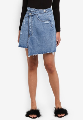 Something Borrowed blue Deconstructed Denim Mini Skirt 2AA0AAAA0463F9GS_1