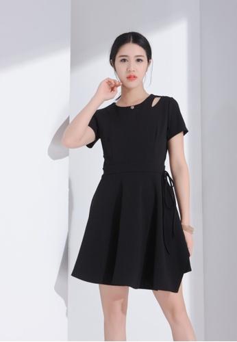 Zafiti black Round Neckline A-line Dress EFEEBAAB093EB2GS_1