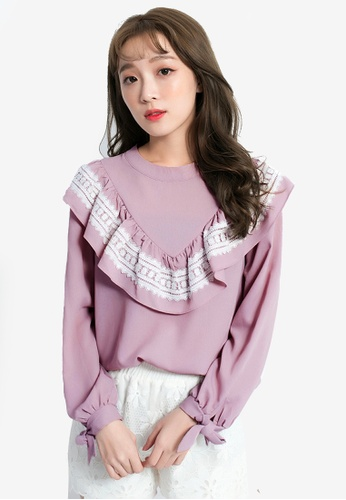 Yoco pink Ruffle Front Lace Blouse 3129AAA8176D05GS_1