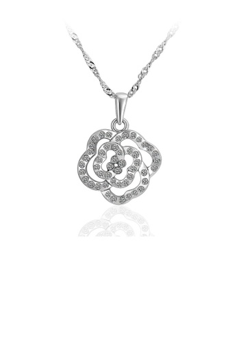 Glamorousky white Fashion Simple Flower Pendant with Cubic Zircon and Necklace 41748AC54FBBAFGS_1