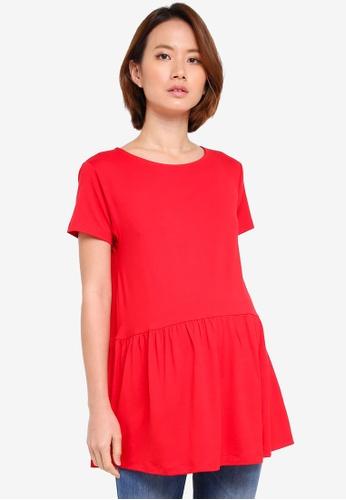 JoJo Maman Bébé red Maternity Peplum T-Shirt 1CF1DAA50E66BCGS_1