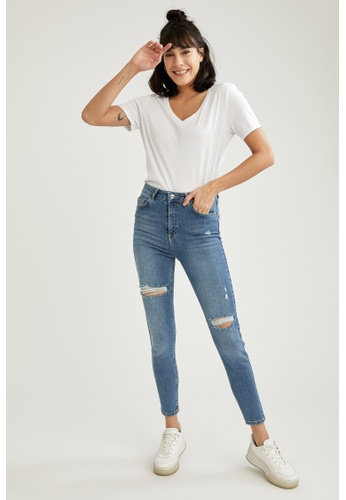 DeFacto blue High Waist Ripped Super Skinny Jeans 99A75AA3EEF6AEGS_1