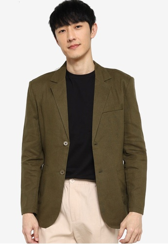 ZALORA BASICS green Casual Linen Blazer 0FD80AA9728BE8GS_1