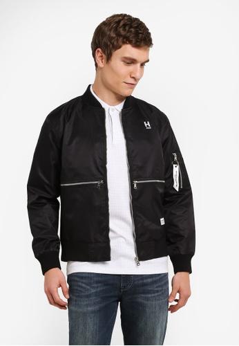 High Cultured 黑色 Embroided Wording Jacket HI002AA0S1U9MY_1