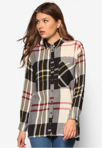 寬版格紋長袖襯衫, 服飾, 襯zalora開箱衫