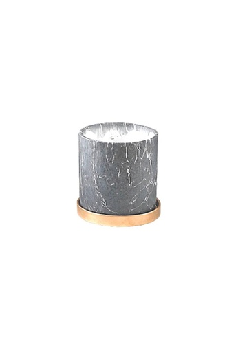 DILAS HOME Gold x Black Marble Effect Plant Pot with Tray - Small 1C809HL3B2CAD6GS_1