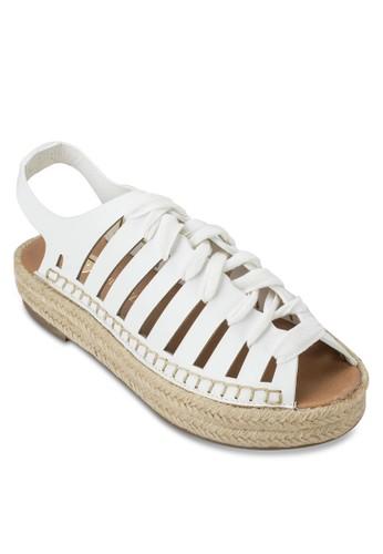 鏤空繫帶麻編厚底涼鞋zalora時尚購物網的koumi koumi, 女鞋, 涼鞋