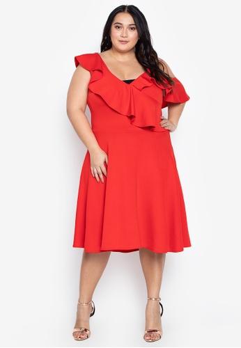 Plus Size One Shoulder Strappy Drape Ruffle Skater Dress
