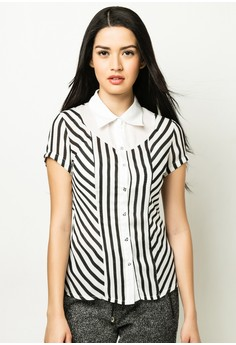 Stripe Short Sleeves Blouse
