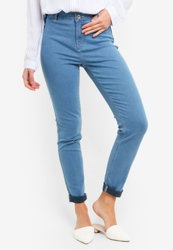 OVS blue Stretch Jeggings With Button 9DBAAAA1C61A93GS_1