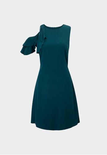 Pomelo green Sustainable Ruffled Sleeve Dress - Green 657A4AA101C39FGS_1