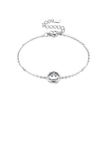 Glamorousky silver 925 Sterling Silver Fashion Smiley Bracelet 0B783AC5B08BE8GS_1