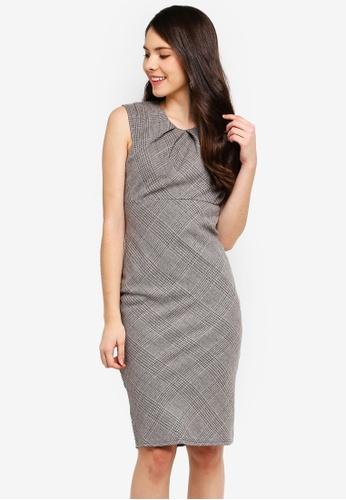Goddiva grey Pleated Neckline Cap Sleeve Midi Dress B0AC3AA3B3FF4BGS_1