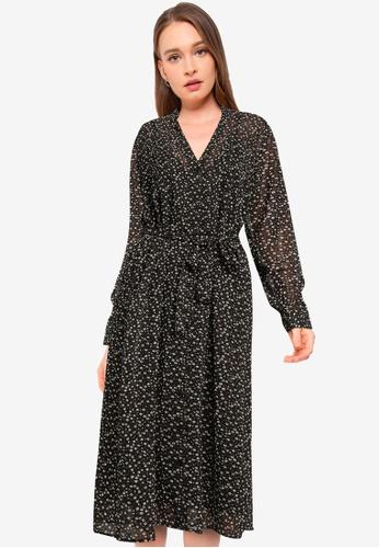 JACQUELINE DE YONG black Viola Long Sleeve Above Calf Shirt Dress C2527AAAF36326GS_1