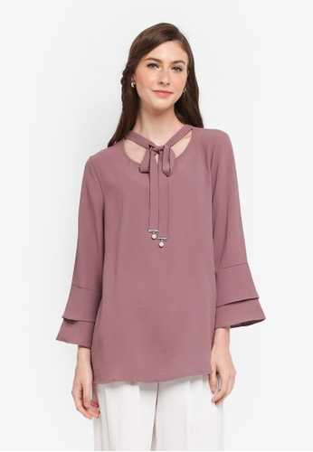 TOPGIRL purple Double Layer Sleeve Pearl Knot Blouse CCDC4AA4902FE9GS_1
