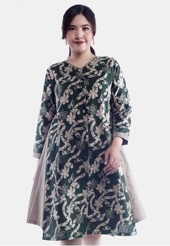 EAJA green Shalika Dress Batik Wanita Modern 3F500AA0B89CC5GS_1