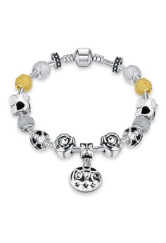 H036 Love & Stars Carved Gold Color & Rose Flower Shape Lucky Beads DIY Bracelet (Silver Pleated)