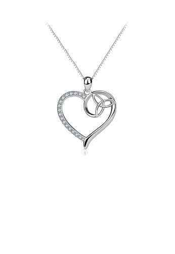 Glamorousky white 925 Sterling Silver Fashion Simple Heart Pendant with Cubic Zirconia and Necklace 1F5BFACB7D51B2GS_1