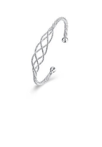 Glamorousky silver Simple and Fashion Line Cross Bangle 10262AC9E820A3GS_1
