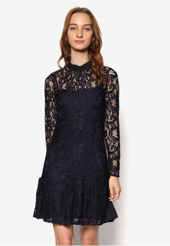 蕾絲esprit outlet台北覆蓋長袖連身裙, 服飾, 洋裝