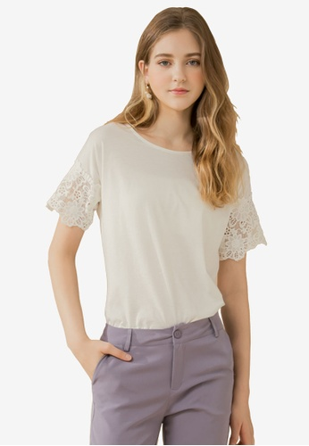 Eyescream white Guipure Lace Sleeves Top BF538AA9E852D0GS_1