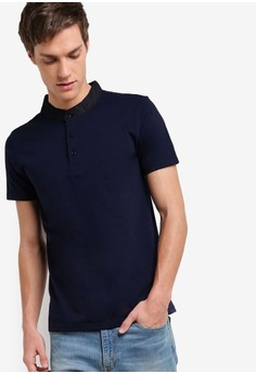 Pique Polo Shirt With Mandarin Collar