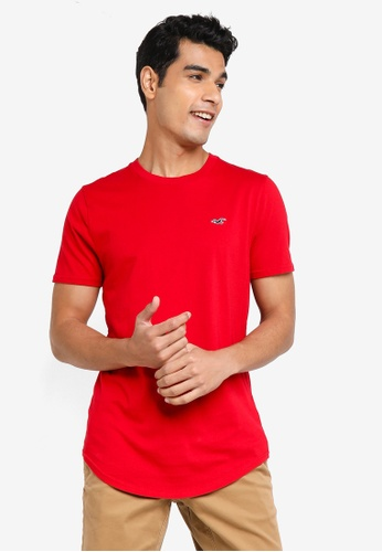 Hollister red Curved Hem Casual Tee 28FCCAA3C480E0GS_1