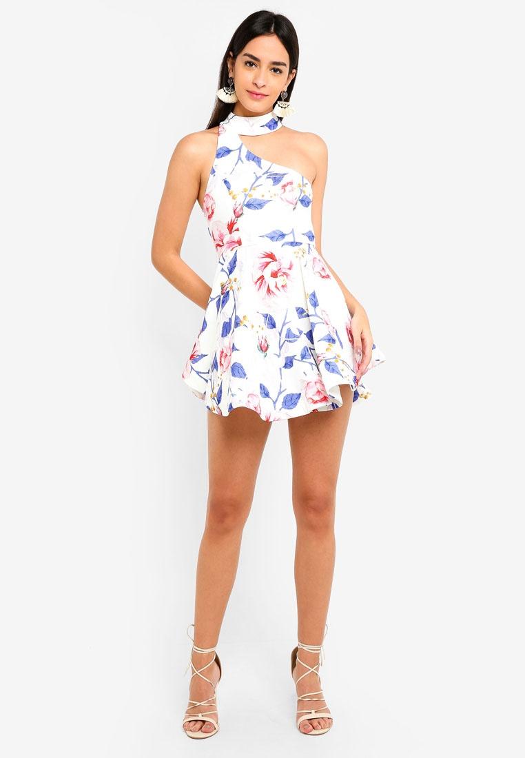 Neck Asymmetrcial White INDIKAH Skater Floral Dress vqqad