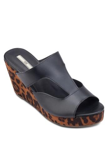 豹紋印花露趾楔型跟涼鞋, esprit台灣女鞋, 鞋