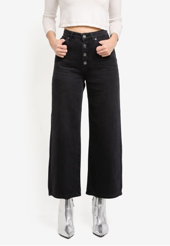Selected Femme black Sfgene Hw Cropped Wide Jeans Black SE157AA0T0DIMY_1