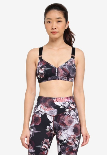 L'urv black and multi In Full Bloom Sports Bralette ABBE2US619D4A4GS_1