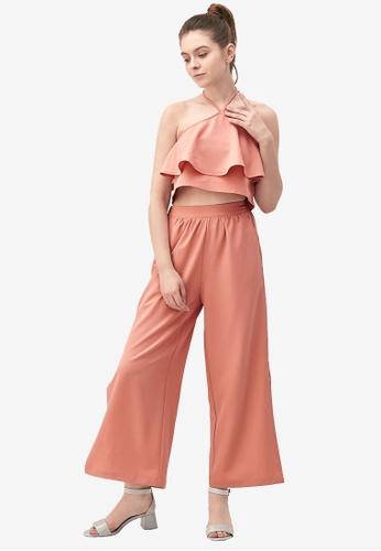 Kodz pink Ruffle Front Halterneck Jumpsuit 0A183AAE0D896FGS_1