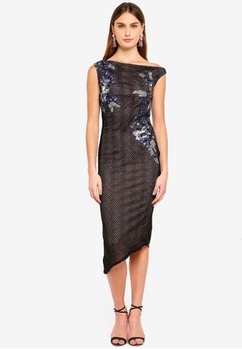 Goddiva black Asymmetric Midi Dress 6EB48AA261A48DGS_1