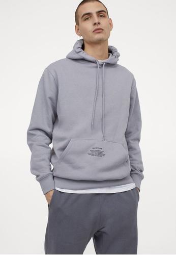 H&M grey Text-Print Hoodie 14123AAD921138GS_1