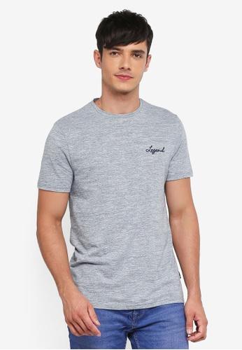 Burton Menswear London 藍色 混色刺繡T恤 27B54AA2A8A97EGS_1